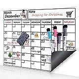 Calendario mensile lavagna magnetica cancellabile a secco, organizer settimanale agenda a bordo, frigorifero, bianco bordo piano di lavoro con 4pennarelli e cancellino 1per frigo/sala riunioni/Classroom