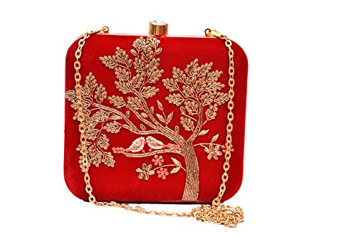 sugarcrush Women's Velvet Hand Embroidered Box Clutch, Maroon