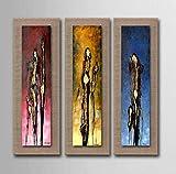AYANGZ 100% handgemalte Ölgemälde - Moderne Abstrakte Impressionist Dekorative Kunst Abstrakte Humanoid Wohnzimmer Schlafzimmer Dekorative Kunst, 3pc, 11 * 35 Zoll,15 * 47inch