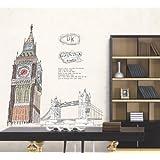 Extraíble pegatinas de oficina del Big Ben y London Bridge Mural de vinilo papel pintado de la pared wallkraft TecGadgets stickersFor habitación decoración para el hogar