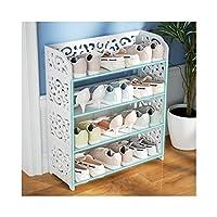 4 Tiers Shoe Rack Shabby Chic Hollow Out Shoe Stand Storage Organizer Shelf Holder Shelves White, 60 x 23.5 x 68.5cm XIEJIA0516