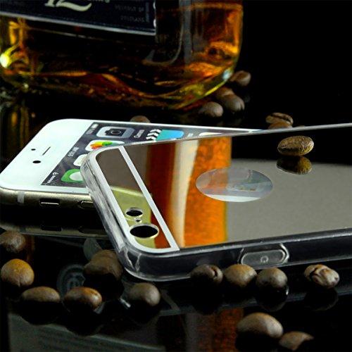 EGO® Luxus TPU Spiegel Schutzhülle Case für iPhone 5 / 5s silber Back Cover mit Glanz Mirror Schutz-Case Silber + Glas