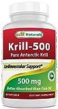 Grajeas de aceite de kril 500 mg de Softgels – 100 % puro aceite de kril prensado en frío...