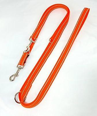 Hundeleine Doppelleine Gurtband reflektierend 20mm 3,50m orange 4fach verstellbar für mittlere und große Hunde