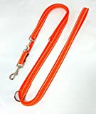 elropet Hundeleine Doppelleine Gurtband reflektierend 20mm 3,50m orange 4fach verstellbar für mittlere und große Hunde