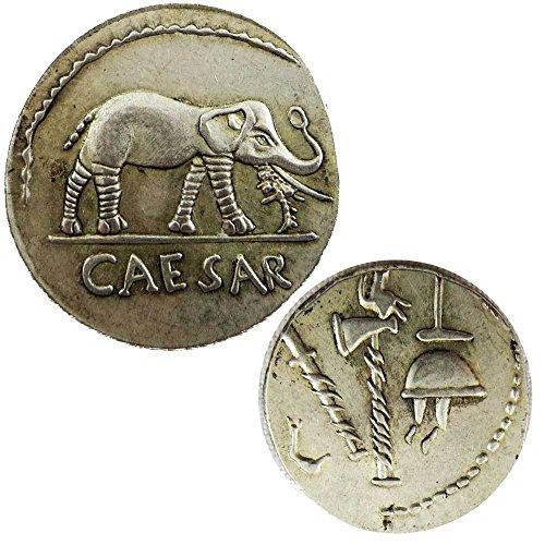Riproduzione replica moneta impero romano denario giulio cesare con elefante