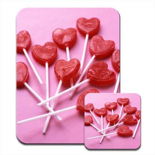 Gustosa rosso per Mousematt caramelle a forma di lecca lecca a forma di cuore Premium & Coaster Set