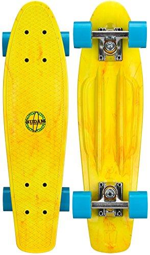 Nijdam Splash Plastik Skateboard, Gelb/Blau, One Size/22.5 Zoll