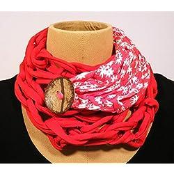 Cuello de algodón rojo y estampado con botón de coco