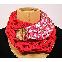 Pañuelo de algodón rojo y estampado con botón de coco