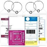 GreatShield (4pcs) Étiquettes à bagages - Étiquettes de croisière Porte-bagages pour bagages Zip Seal Boucles en acier PVC épais - Accessoires de voyage Bagages ID Tags -Nom Tags - Étiquette de valise