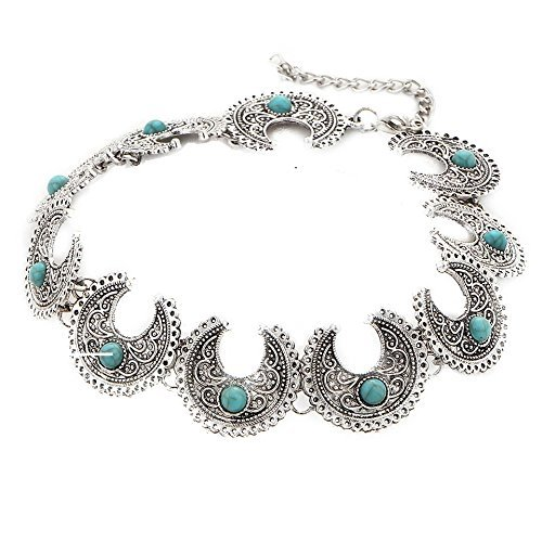 Bold N Elegant Boho Collar Vintage Ethnic Style Antique Silver Beaded Choker Necklace Neck Piece Fusion Collection For Girls & Women  available at amazon for Rs.490