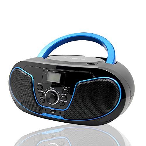 LONPOO Lecteur CD Radio FM Portable Boombox, Lecteur MP3 / CD Bluetooth, avec entrée auxiliaire,...
