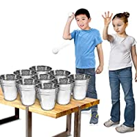 ‏‪Gamie Bucket Ping Pong Ball Game Includes 9 Metal Buckets, 12 Balls, and 1 Number Sticker Sheet - Fun Party Activity for Kids and Adults, Great Gift Idea for Kids‬‏