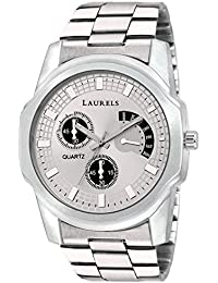 Laurels Silver Color Analog Men's Watch With Metal Chain: LWM-MTX-II-070707