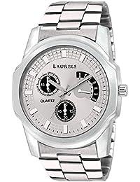Laurels Silver Color Analog Men's Watch With Metal Chain: LWM-MTX-II-070707