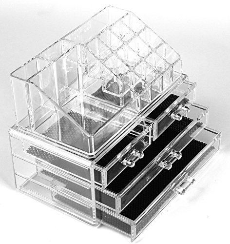 Arpoador Acrylique Transparent Cosmétique Maquillage Bijoux Boîtes de rangement Boîtes de Coque avec 4 tiroirs avec partie supérieure Dimensions : 24,1 x 15,2 x 19,1 cm