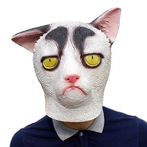 XIAOMAN Weiße Katze Kopf Maske Realistische Latex Gesichtsmaske -