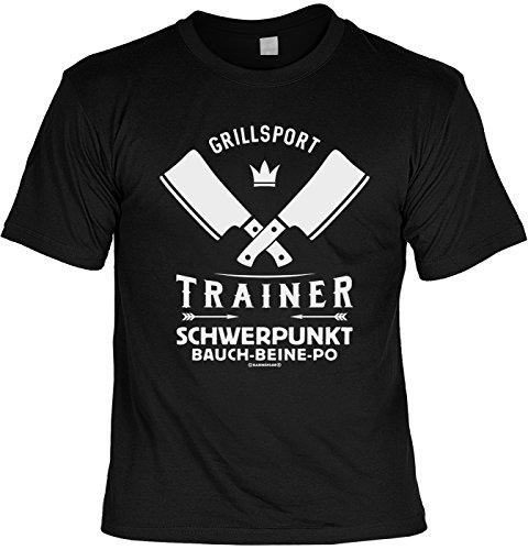 51dLNQI KjL - Tini - Shirts Griller Sprüche-Tshirt - lustiges Grill-Set - Griller Partyshirt : Grillsport Trainer Schwerpunkt Bauch-Beine-PO - Bekleidung Grillen Grill Zubehör + Mini Flaschenshirt Gr: 3XL