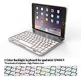 BECROWM EU iPad Mini 23Clavier Coque de Protection, Ultra Fin Coque Rigide Folio...