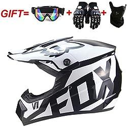 Casque Crash Motocross Adulte pour Hommes Femmes, Moto DH Off-Road Enduro VTT VTT BMX Downhill Dirt Bikes Casque de Moto Cross pour Moto avec Masque de Gants,White,M(57~58CM)