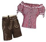 Damen Set Trachten Lederhose Shorts Dunkelbraun kurz + Träger + Trachtenbluse Carmen 44 Rot Weiß Kariert 46