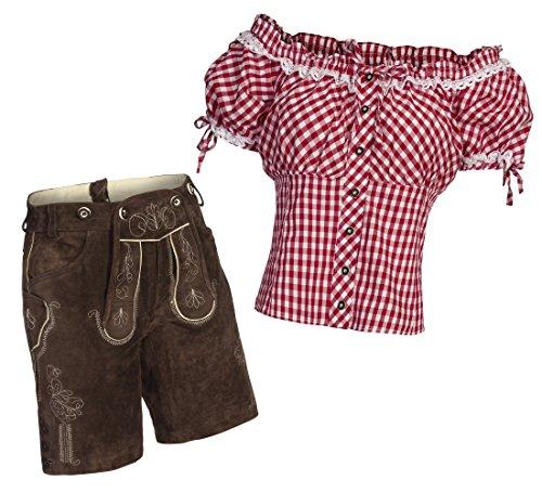 Damen Set Trachten Lederhose Shorts Dunkelbraun kurz + Träger + Trachtenbluse Carmen 38 Rot Weiß Kariert 38