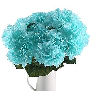 HUAESIN Flores Artificiales Hortensias Azules 6 Cabezas Flores de Plastico Claveles Ramo Flores de Tela para Interior…