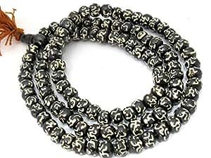 Kriwin® Tibetan Black Mala/ Rosary with Om Printed Design for Japa/ Chanting