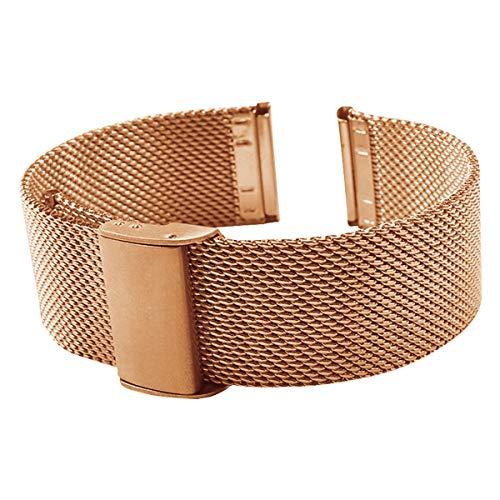 Gold-Edelstahl-Uhrenarmband 16mm Damen Metallgewebe Uhrenarmband Armband Rose (Mk Rose Gold-männer Uhren)