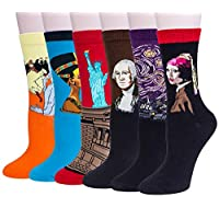 Justay 4/5 Pair of Mens Socks, Colorful Patterned Famous Paintings, Fashion Trend Crew Socks Mens, Cotton EU 39-45, Gift for Men MULTIWAY (6 Pairs-03)