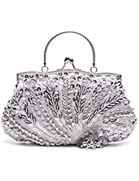 886e3c59bcab VENI MASEE Collection Antique Floral Seed Bead   Sequin Soft Clutch Evening  Bag