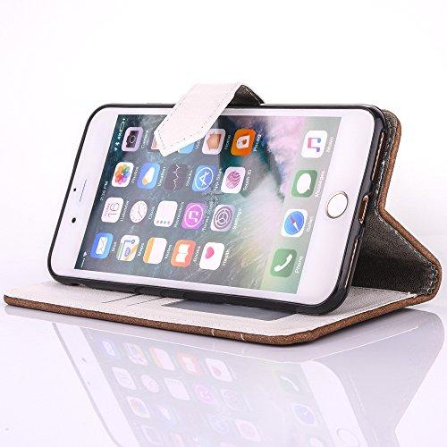 Cover per iPhone 7 Plus Zipper,Custodia per iPhone 8 Plus ,Bonice Premium Pelle Portafoglio Staccabile Detachable Removable Folio Protettivo Case Multiplo Card Slots Extra Multifunzionale Slot per Car Pattern 14