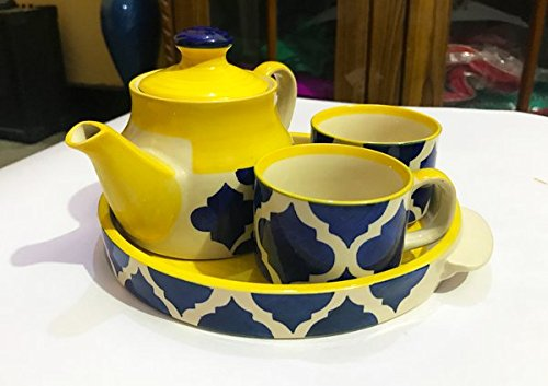 Hindustani Saudagar Microwave Safe Hand Made Painted Tea Set With Kettle And...