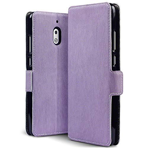 TERRAPIN, Kompatibel mit Nokia 2.1 Hülle, Leder Tasche Case Hülle im Bookstyle mit Standfunktion Kartenfächer - Lila