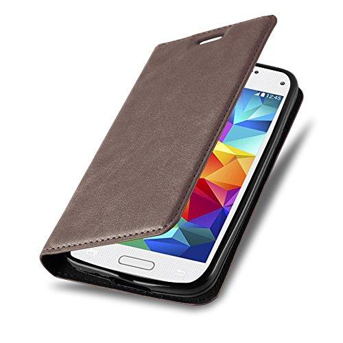 Cadorabo Hülle für Samsung Galaxy S5 Mini / S5 Mini DUOS - Hülle in Kaffee BRAUN – Handyhülle mit Magnetverschluss, Standfunktion und Kartenfach - Case Cover Schutzhülle Etui Tasche Book Klapp Style