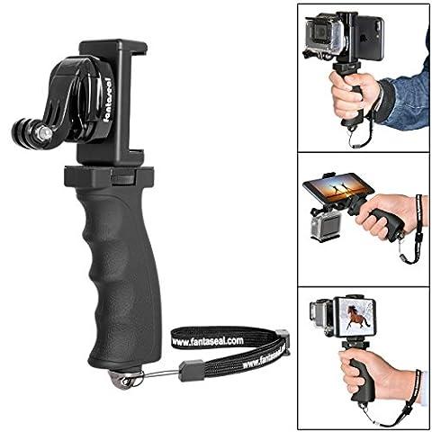 Fantaseal® 4-en-1 Poignée Support Ergonomique Grip Portable Vidéo Stabilisateur + Pince de Smartphone + GoPro J-Hook Boucle Adapteur + Microfibre Toile pour GoPro Caméra Hero 5 / GoPro Hero 4 / GoPro Hero 3+ / GoPro Hero 3 etc.