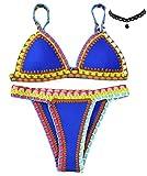 M-Queen Sexy Crochet Swimwear Handmade Tricotés Femmes Maillots de Bain Knit Triangle Swimsuit Bikini Set 2016 - Bleu - XL