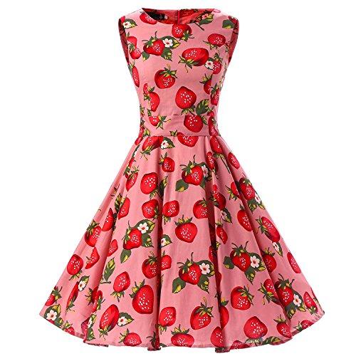 iHAIPI - Damen Vintage Kleider Sommerkleid Bluesenkleid Abendkleid Partykleid Cocktail Ärmelos Eine Vielzahl von Farben Tupfen und eine Vielzahl von Farbe Blumen Arten 20 (05. EU 44 (XXL), 019 Rose Hintergrund Erdbeere)