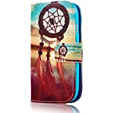 Samsung Galaxy S3 Mini Case,S III Mini I8190 H�lle YOKIRIN Blau Flip Cover Leder Wallet Case Campanula Muster Design Schutzh�lle Tasche Handytasche Etui Schale Backcover im Bookstyle mit Standfunktion Kredit Kartenf�cher