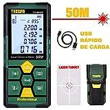 Telémetro láser 50m, USB 30mins Carga rápida, TECCPO Medidor Láser, Electrónico Ángulo...