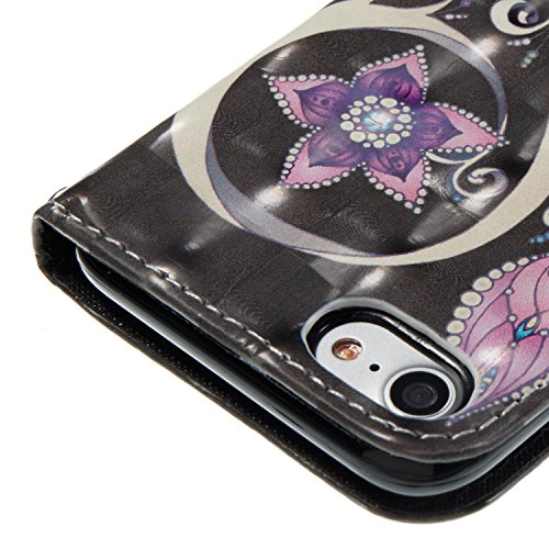 Gurt Lederhülle für iPhone 7,Premium Seil Brieftasche für iPhone 7,Funyye Stilvoll Luxuriös 3D Blume Mädchen Muster PU Leder Zubehör im Bookstyle Schale mit Ständer Standfunktion Etui Karten Slot und  Color-06