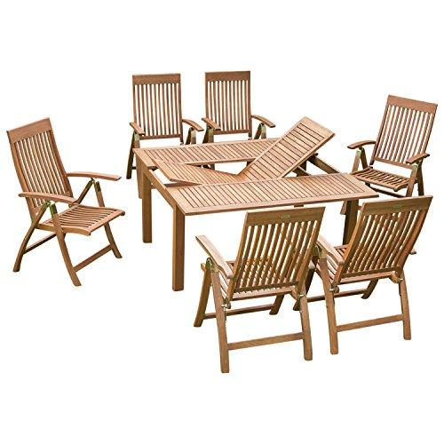 Holz Garnitur COMODORO 7-teilig, 6x Klappsessel, 1x Ausziehtisch 100/150x150cm, Eukalyptus geölt. FSC®-zertifiziert