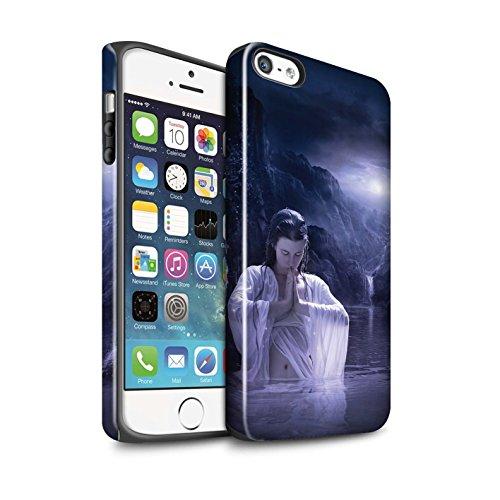 Officiel Elena Dudina Coque / Brillant Robuste Antichoc Etui pour Apple iPhone SE / Masque d'Hiver Design / Un avec la Nature Collection Lagune À la Nuit