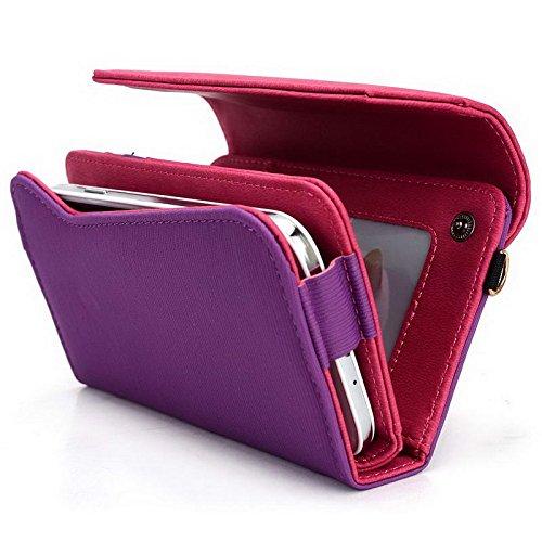 Kroo Pochette Portefeuille Lien Serie Convient pour Karbonn Sparkle V/titane S99 Multicolore - Magenta and Grey Multicolore - Purple and Magenta