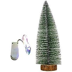 Wawer LED Mini Weihnachtsbaum Künstlicher Weiße Zeder Weihnachtsbaum DIY Craft Tischdekoration Miniatur Baum Ornamente Weihnachten Festival Dekorationen Geschenk (15cm)