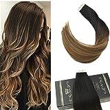 Ugeat 16 inch Tape in Echthaar Remy Menschenhaar Thick Human Hair Extensions OmbreTape im Haar
