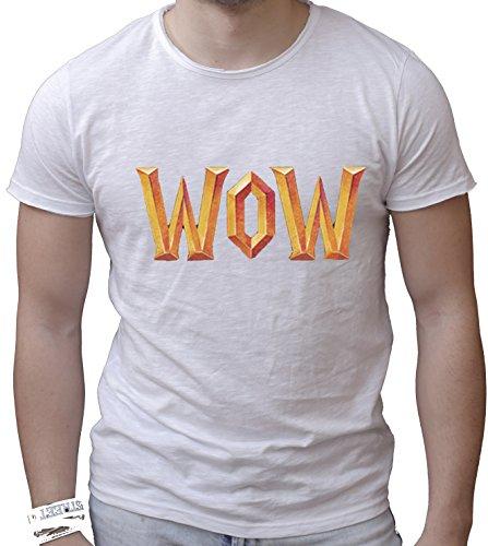 T-shirt cotone fiammato Scollo ampio a taglio vivo - WOW, WORLD OF WARCRAFT games giocho online divertenti humor MADE IN ITALY Bianco