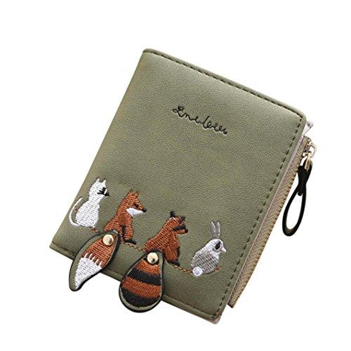 BZLine® Frauen Cute Animals Stickerei Short Geldbörse Card Holder Billfold Geldbörse (Grün) (Holder Wallet Billfold Card)