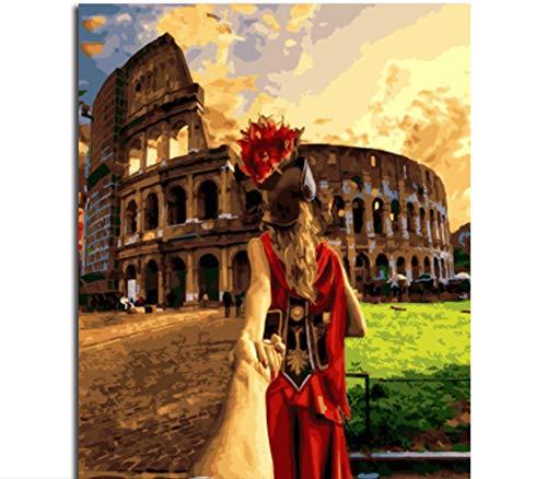 �lde für Erwachsene Römische Architektur und Frau Wandkunst DIY Ölfarbe nach Zahlen Kit-Frame 40x50 cm ()